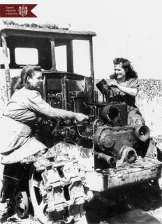 Parascovia Rudoi (în stânga) și Liubovi Șevciuc în timpul deservirii tehnice a tractorului DT-54, Stația de Mașini și Tractoare din satul Arionești, r. Dondușeni, 14.08.1953, indice: 15252, autor - Drobniev