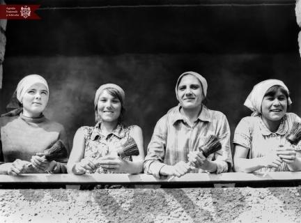 Tencuitoarele din s. Selemet, r. Cimișlia, în timpul lucrărilor de construcție a taberei de odihnă. (de la stânga la dreapta) M. Vulpe, L. Cilescu, A. Ciceac și V. Enache. 23.08.1976, Indice: 65738, Autor - Semehin