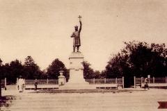 """Aspectul monumentului """"Ștefan cel Mare"""", sculptor Alexandru Plămădeală (carte poștală)."""