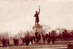 """Monumentul """"Ștefan cel Mare"""", sculptor  Alexandru Plămădeală (carte poștală). Anul 1936."""
